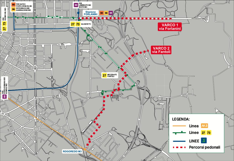 La mappa dei percorsi pedonali per il concerto di Jovanotti a Linate