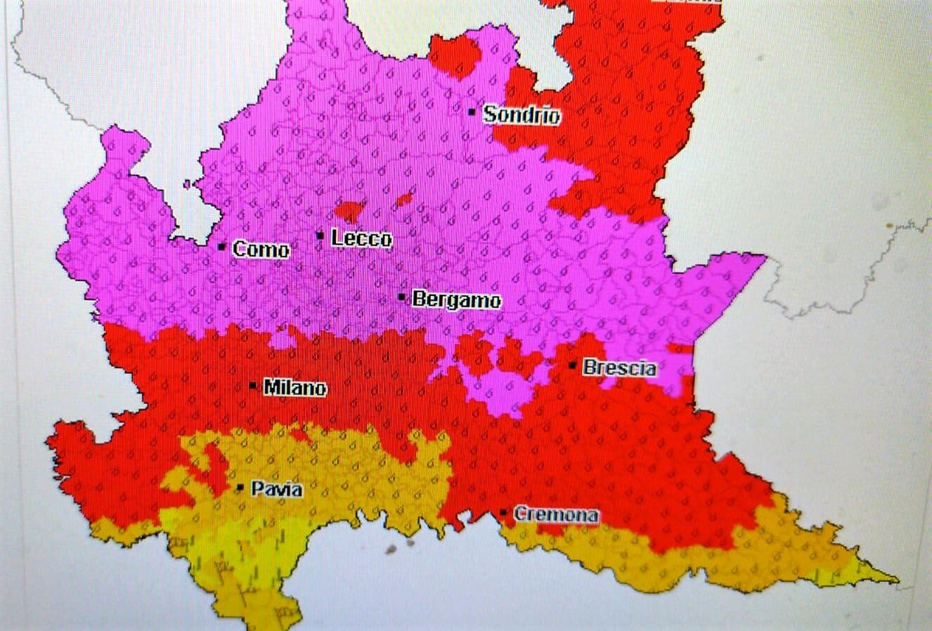 Allerta meteo viola, rossa e arancione e gialla-2