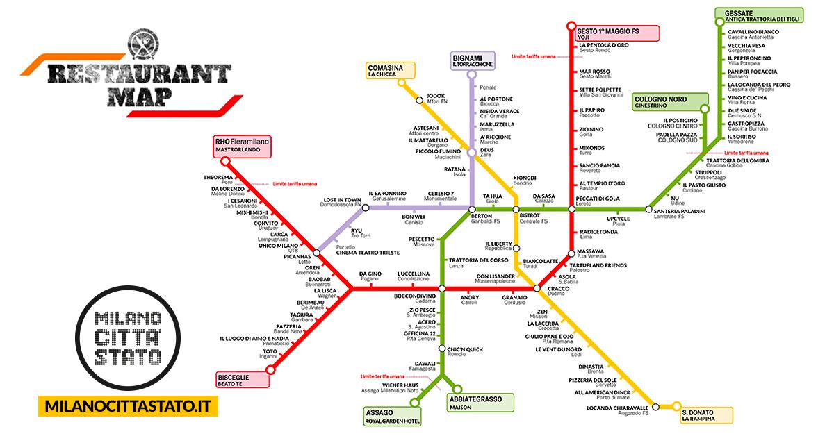 Cartina Metro Rossa Milano.Milano La Mappa Della Metro Con Tutti I Ristoranti