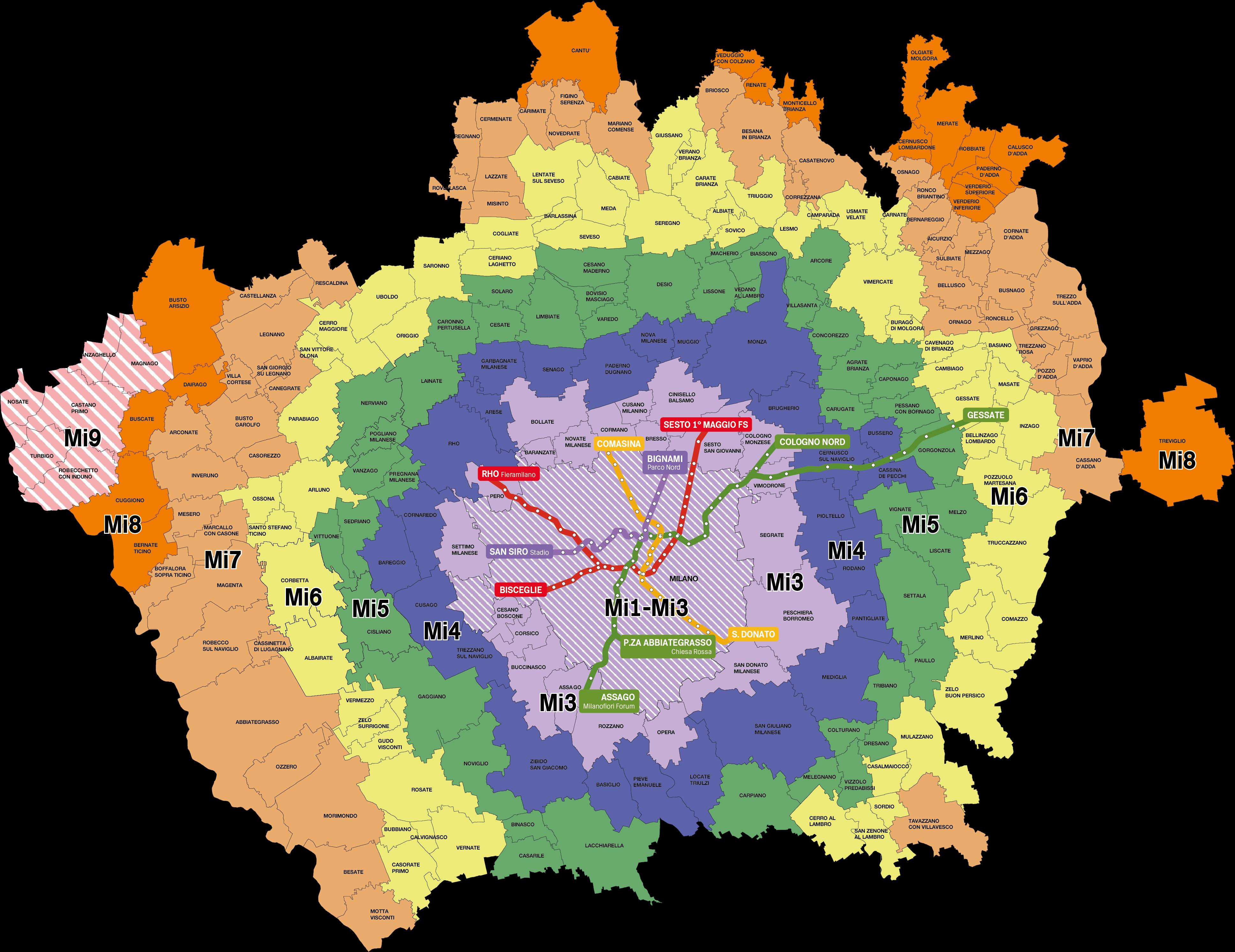 Zone per i biglietti Atm di Milano-2