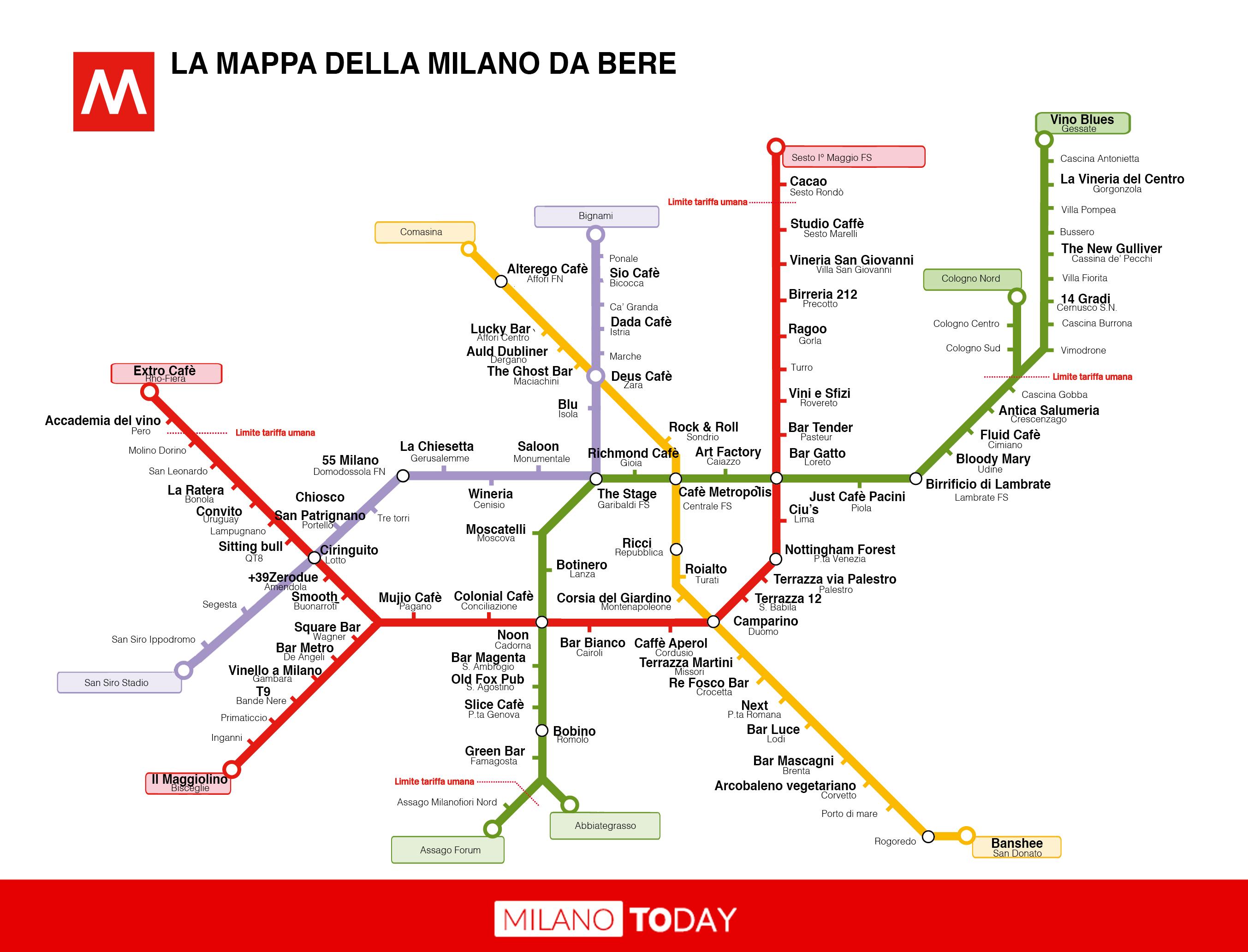 Cartina Metro Rossa Milano.Stazioni Metro A Milano Con I Nomi Dei Locali Pub E Bar