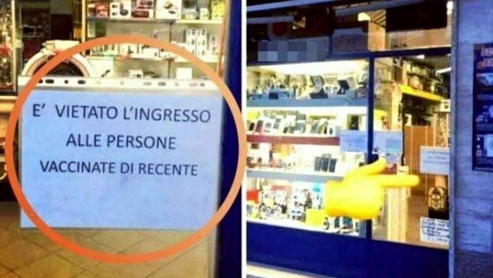 """Milano, il negozio vieta l'ingresso """"alle persone vaccinate di recente"""": il cartello diventa virale"""