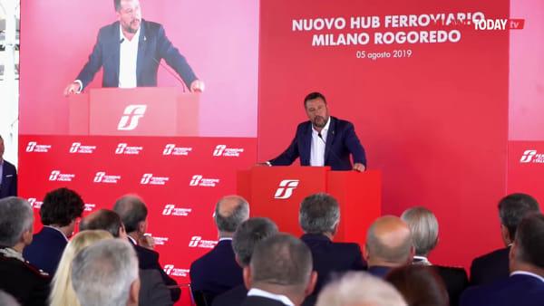 """Milano, Salvini e Toninelli al nuovo hub FS di Rogoredo: """"Lotta alla droga per liberare il quartiere"""""""