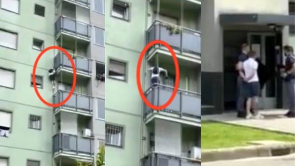Ladro acrobata scala il palazzo fino al 4 piano, poi si 'lancia' dal balcone per fuggire: l'arresto in diretta