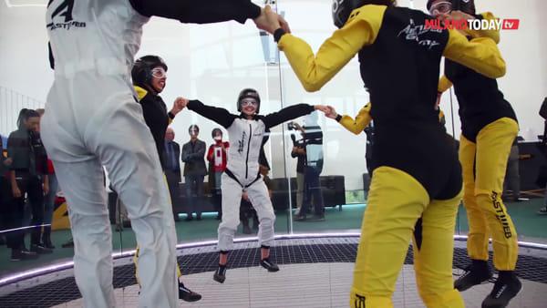 Milano, le Farfalle della ginnastica ritmica nel tunnel del vento di Aerogravity