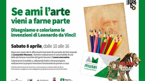 Disegniamo e coloriamo le invenzioni di leonardo da vinci: laboratorio per bamini gratuito al Leonardo3 museum