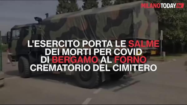 Coronavirus, le tristi immagini delle salme di Bergamo portate al forno crematorio di Cinisello