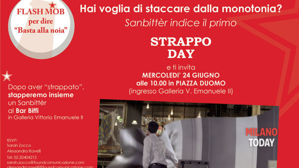 """Il 24 giugno a Milano il primo """"Strappo day"""": in piazza Duomo un flash mob per dire basta alla noia"""