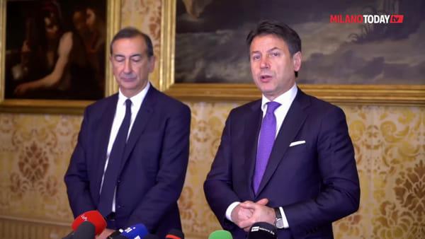 """Il premier Conte incontra il sindaco Beppe Sala: """"Milano è punto di riferimento per l'Italia"""""""