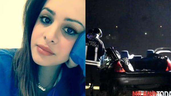 La giovane vittima e la sua auto distrutta